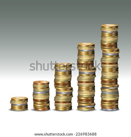 Five rows of coins isolated on background. Vector illustration