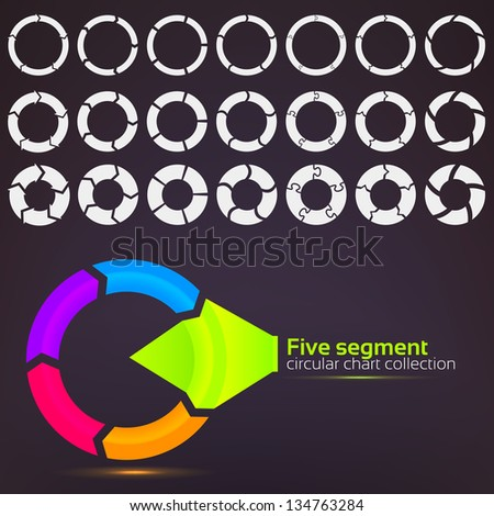 Five segment graph circular charts clip art set, in seven template design variations and three variations of thickness - stock vector
