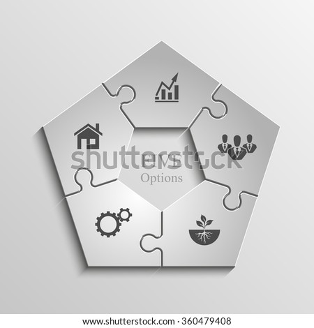 Five sided 3d puzzle presentation infographic template with explanatory text field for business statistics - stock vector