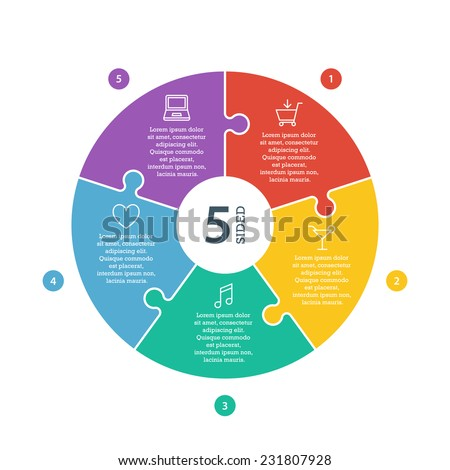 Five sided, numbered flat rainbow spectrum colored puzzle presentation infographic chart with explanatory text field isolated on white background. Vector graphic template. - stock vector