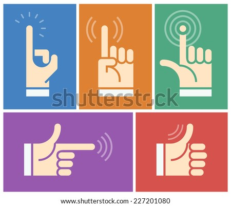 Five silhouettes of human hand. Eps8. RGB. Gradients free. - stock vector