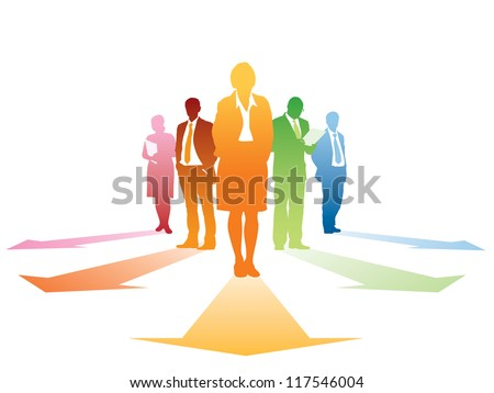 Five silhouettes of successful businesspeople, everyone has own direction. - stock vector
