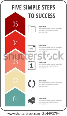 Five simple steps to success arrow concept with icons for project, layout, brochure,web design or presentation in vector. - stock vector