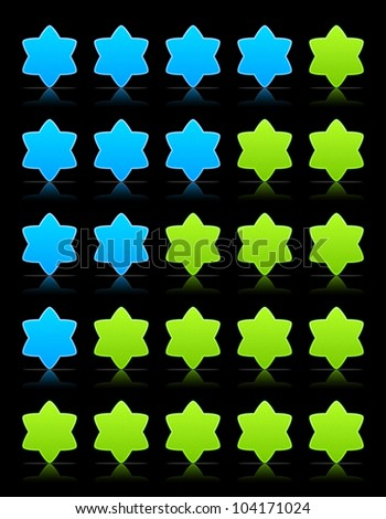 Five six-pointed stars ratings web button. Green and blue shapes with shadow and reflection on black, 10eps.