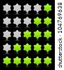 Five six-pointed stars ratings web button. Green and gray shapes with shadow and reflection on black, 10eps. - stock vector
