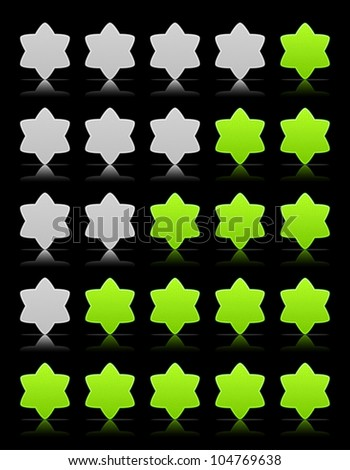 Five six-pointed stars ratings web button. Green and gray shapes with shadow and reflection on black, 10eps.
