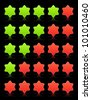 Five six-pointed stars ratings web 2.0 button. Red and green shapes with shadow and reflection on black, 10eps. - stock vector