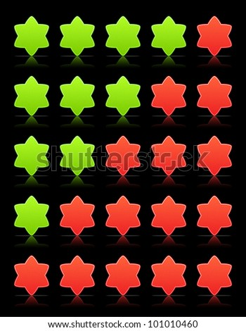 Five six-pointed stars ratings web 2.0 button. Red and green shapes with shadow and reflection on black, 10eps.