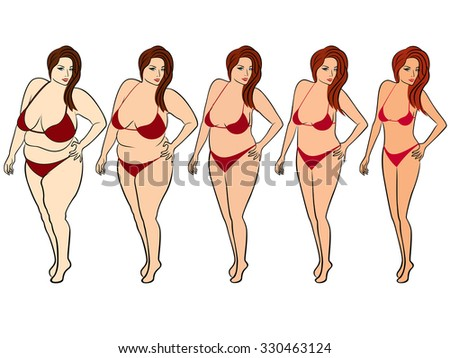 Five stages of a woman on the way to lose weight, colorful vector illustration isolated on white background - stock vector