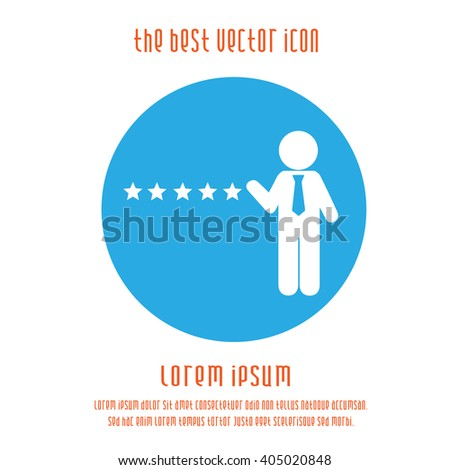 Five star business concept vector icon. Success business simple isolated sign symbol. Businessman with tie pointing at five stars logo blue white round. - stock vector