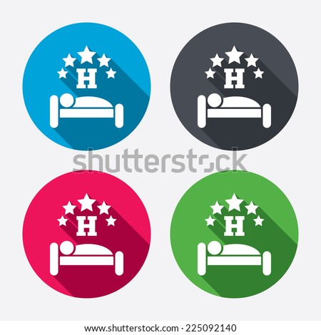 Five star Hotel apartment sign icon. Travel rest place. Sleeper symbol. Circle buttons with long shadow. 4 icons set. Vector - stock vector