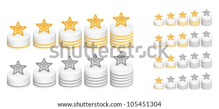 Five stars for ranking at forums and picture galleries. - stock vector