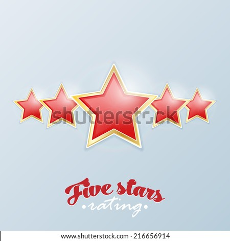 Five stars rating. Vector. - stock vector