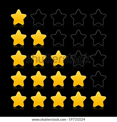 Five stars ratings web 2.0 button. Yellow and black shapes with reflection on black background