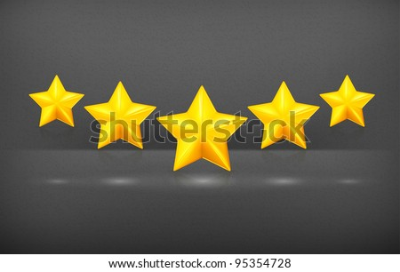 Five stars, vector - stock vector