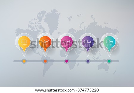 Five steps infographics - can illustrate a strategy, workflow or team work. - stock vector