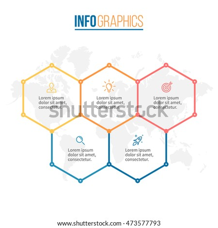 Five steps infographics with hexagons.