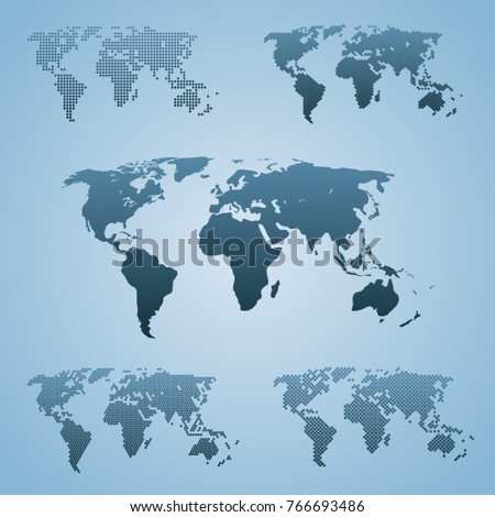 Five stylized world maps isolated world stock vector 766693486 five stylized world maps isolated world map vector globe template web design cover gumiabroncs Image collections