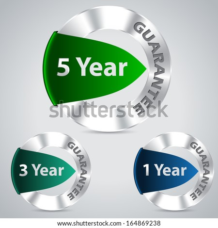 Five three and one year metallic warranty badges - stock vector