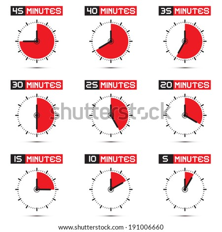 Five to Forty Five Minutes Stop Watch - Clock Vector Illustration Set - stock vector