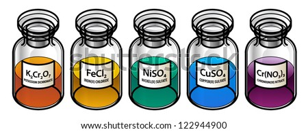 Five transition metal compounds - potassium dichromate (orange), iron chloride (yellow), nickel sulfate (green), copper sulfate (blue), chromium nitrate (purple) - in clear glass reagent bottles. - stock vector