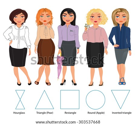 Five types of woman figures in business dresses: hourglass, triangle, rectangle, round and inverted triangle, vector hand drawn illustration - stock vector
