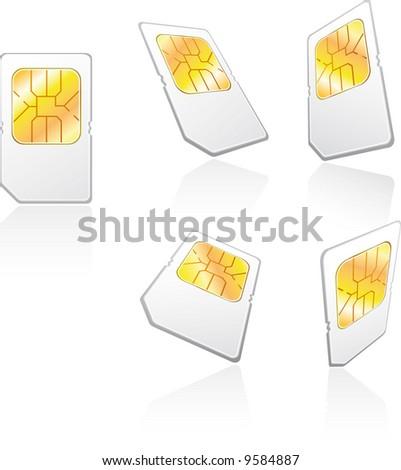 five views of a cellphone sim card - stock vector