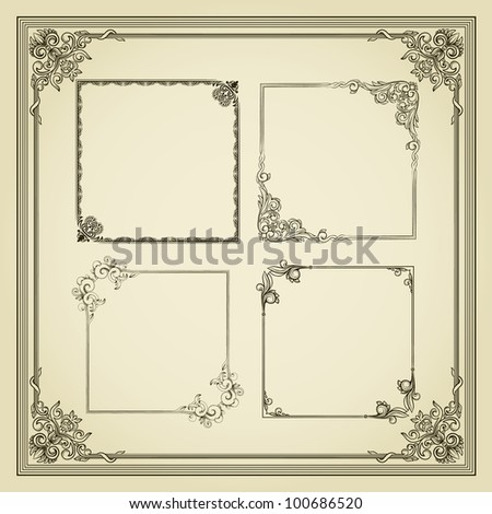 Five vintage frame in retro style - stock vector