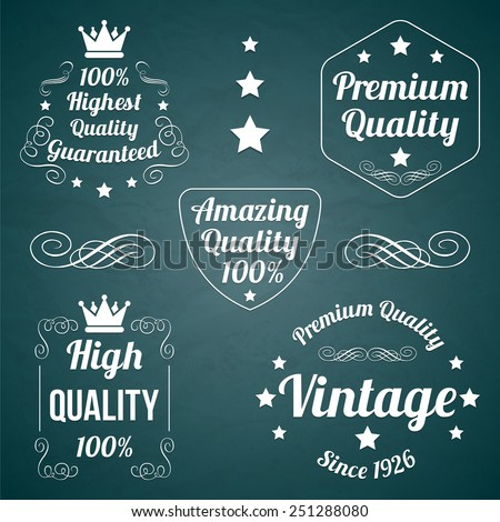 Five white vector vintage badges collection Amazing quality, Premium quality, Highest Quality Guaranteed, High Quality, Vintage Premium Quality. Retro style labels, tags, badges, stamps set - stock vector