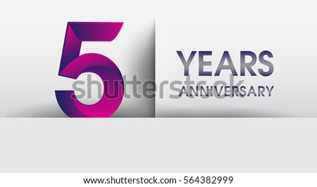 Five years anniversary celebration logo flat stock vector