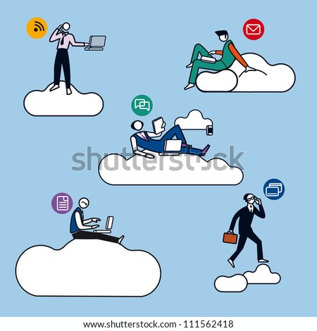 Five young businessmen silhouettes, working in cloud computing for the new economy. Color illustration with very schematics characters, almost icons. Attitudes of professional work. - stock vector