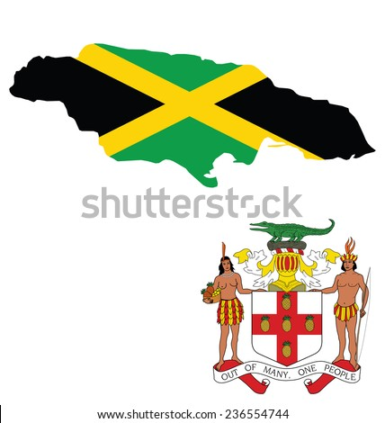 Flag and coat of arms of Jamaica overlaid on outline map isolated on white background  - stock vector