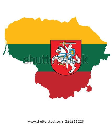 Flag and coat of arms of the Republic of Lithuania overlaid on outline map isolated on white background  - stock vector