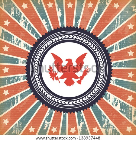 flag and eagle over vintage background vector illustration - stock vector