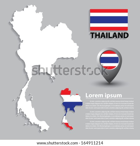 Flag and Map of Thailand. vector illustration - stock vector