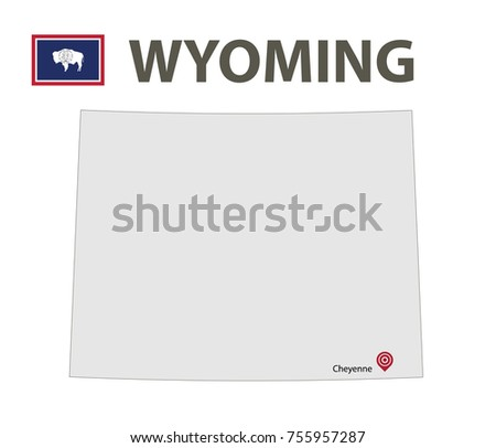 Flag and map of Wyoming. Vector illustration.