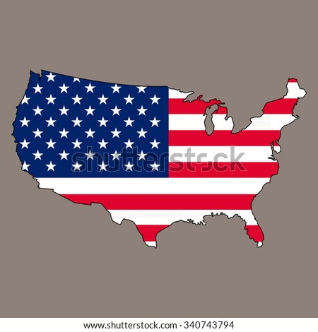 flag and map USA - stock vector