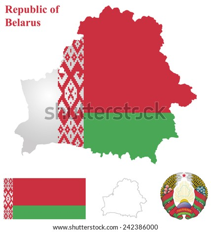 Flag and national coat of arms of the Republic of Belarus overlaid on detailed outline country map isolated on white background  - stock vector
