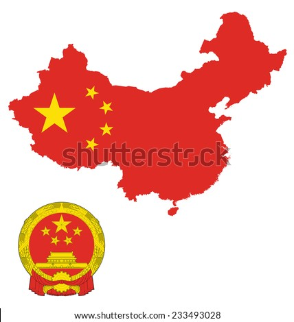 Flag and national emblem of the Peoples Republic China overlaid on detailed outline map isolated on white background  - stock vector