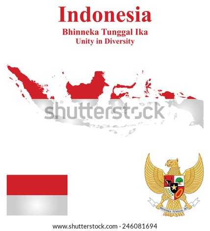Flag and national emblem of the Republic of Indonesia which forms part of Borneo overlaid on detailed outline map isolated on white background  - stock vector