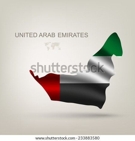 Flag Arab Emirates in a country with a shadow - stock vector