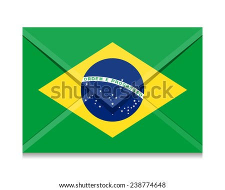 Flag as an open envelope with a letter. Flag of Brazil, - stock vector