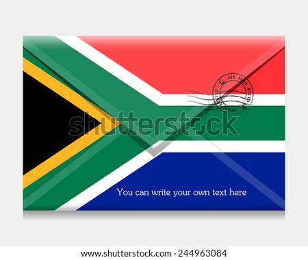 Flag as an open envelope with a letter. Flag of South Africa. Vector. Icon. - stock vector