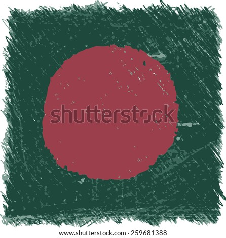 Flag Bangladesh square shape - stock vector