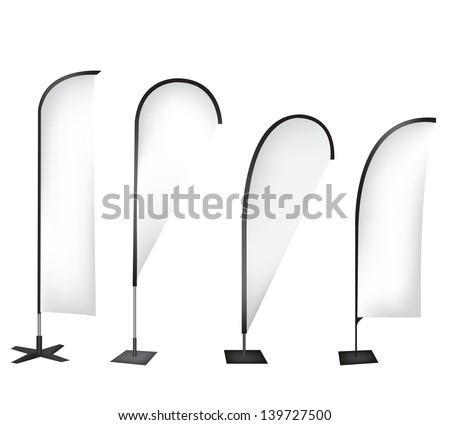 Flag banner stand display - stock vector