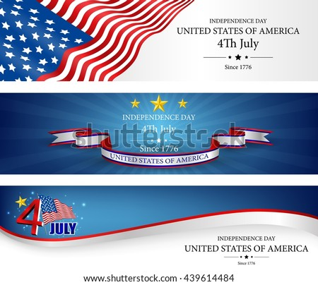 Flag banners independence day template.Vector