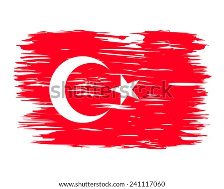 Flag Brush Turkey. The national flag painted with a brush colored inks. The flag on the wall. Effects flag of the country. Background, grunge, paint, ink, color. Image. Vector. Icon.