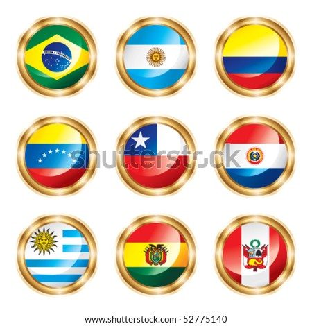 Flag buttons South America. Vector, each in separated layer. - stock vector