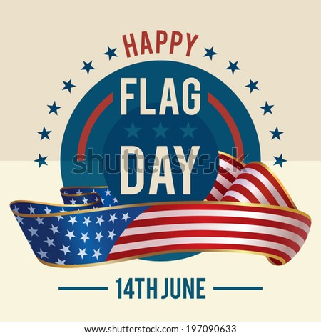 Flag Day of united states greeting card - June 14