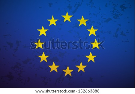 Flag European Union isolated on grunge background vector